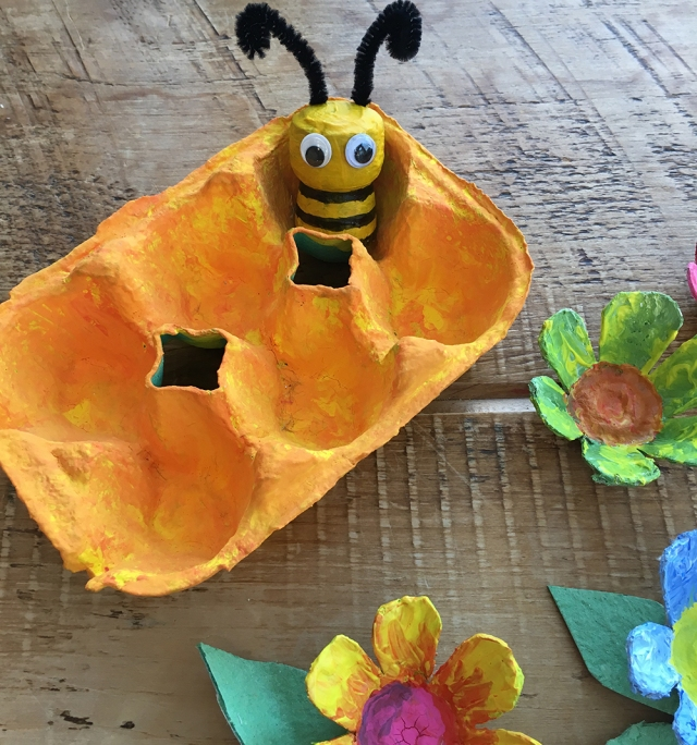 Recycled Cork Character crafts - ideal for story telling and small world play - Bumble Bee and Honey Comb