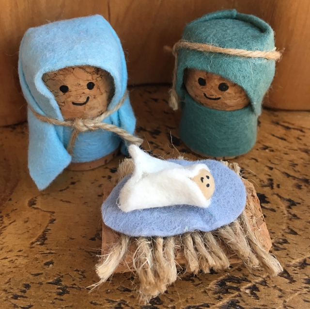 Recycled Cork Character crafts - ideal for story telling and small world play - Mary, Joseph and Baby Jesus