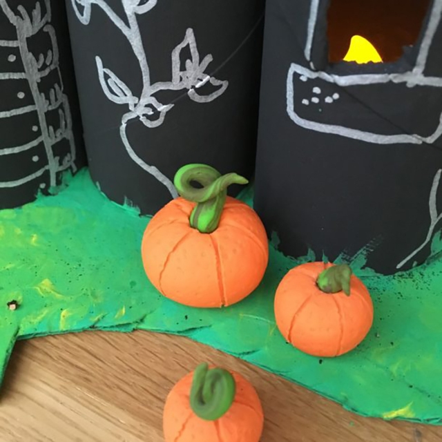 Halloween Craft Projects for Kids - handmade fimo clay pumpkins