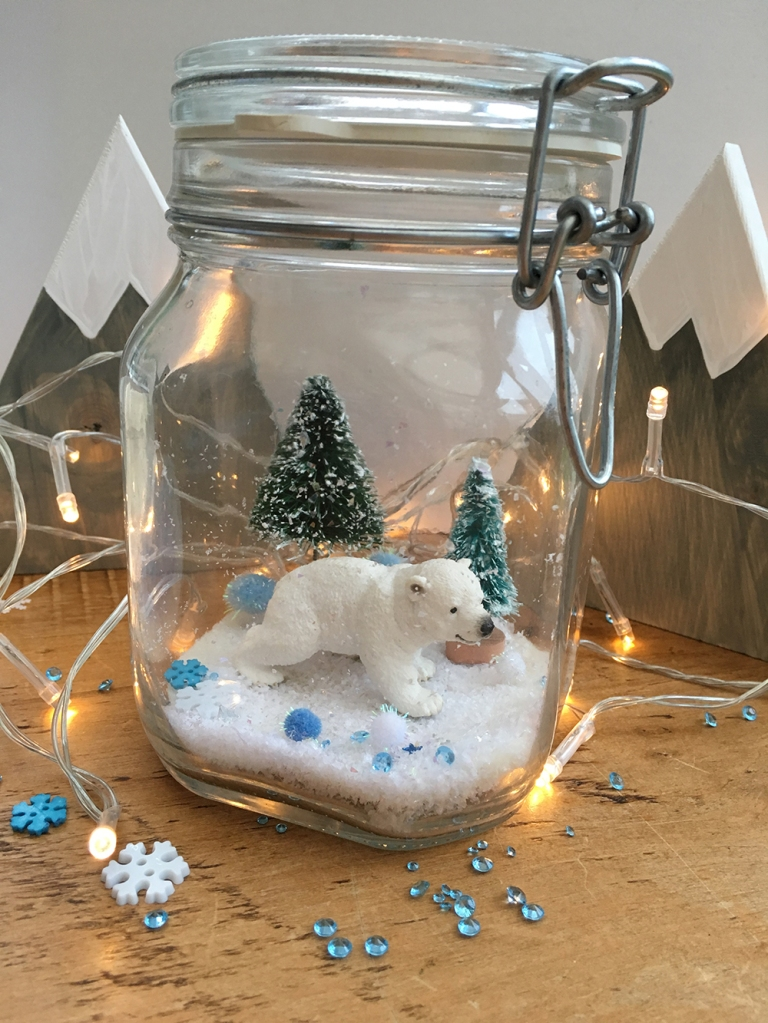 Small World Christmas Scene in a Jar