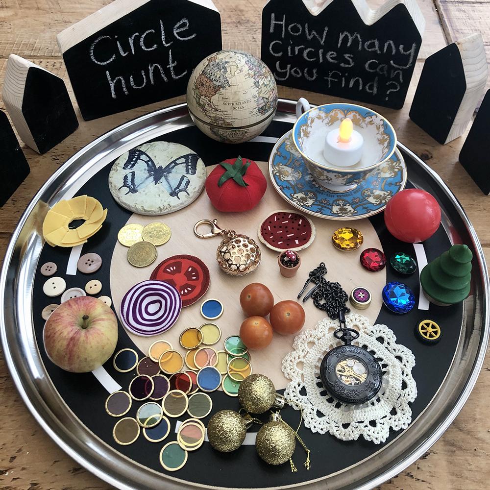 Exploring Circles and Basic Fractions - circle hunt