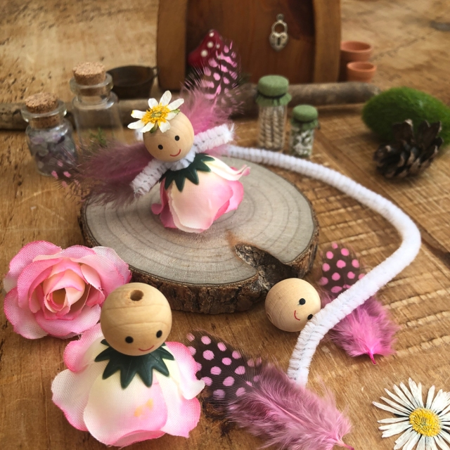 Fairy Small World Play in the Tuff Tray idea. How to make miniature fairies for small world play.